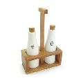 Set recipiente pentru ulei si otet Kassel, 3 piese, suport lemn de salcam, recipiente portelan