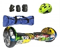 PACHET SCUTER ELECTRIC HOVERBOARD A025-34, GRAFFITI, 6.5INCH, CASCA + HUSA SI SET PROTECTIE CADOU