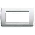 Rama ornament Rondo 4 module argintiu metalizat Vimar Idea