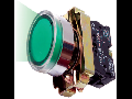 Buton de comanda  luminos, revenire cu bec (cap+ etrier+modul lampa+ bec+1NI), verde, RI 5