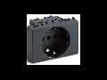 Priza schuko  P30 2P+T, 16A, 3 module, gri