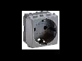 Priza schuko  2P+T, 16A, 2 module, argintie