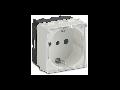 Priza schuko, P30 2P+T, 16A, IP40 cu capac, 2 module, alb