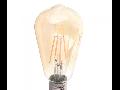 Bec LED Filament,4 w,E27,lumina calda,bulb sticla ST64,pelicula chihlimbar