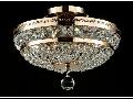 Candelabru Diamant Crystal Ottilia,3 becuri dulie E14, 230V,D.32cm, H.23 cm,Auriu