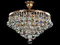 Candelabru Diamant Crystal Gala,6 becuri dulie E27, 230V,D.38cm, H.38 cm,Auriu