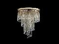 Plafoniera Diamant Crystal Cascade,7 becuri dulie E14, 230V,D.42cm, H.50 cm,Auriu