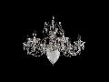 Candelabru Diamant Crystal UIana,6 becuri dulie E14+1bec Dulie E27, 230V,D.68cm, H.48 cm,Nichel