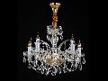 Candelabru Diamant Crystal Lira,5 becuri dulie E14, 230V,D.67cm, H.50 cm,Auriu