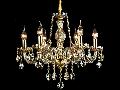 Candelabru Diamant Crystal Brandy,6 becuri dulie E14, 230V,D.53cm, H.48 cm,Auriu