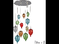 Corp de iluminat din sticla suflata si prelucrata manual sub forma de balon multicolor 12x40W