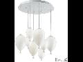 Corp de iluminat din sticla suflata si prelucrata manual sub forma de balon alb 8x40W