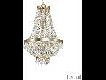 Candelabru cu margele din cristal si elemente decorative octogonale 9x40W Auriu