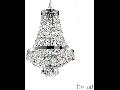 Candelabru cu margele din cristal si elemente decorative octogonale 6x40W Crom