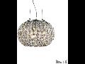 Pendul Calypso cu abajur sferic si decoratiuni de cristal 3x60W