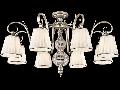 Candelabru Elegant Brezza,8 becuri dulie E14, 230V,D.82cm, H.49 cm,Argintiu