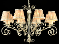 Candelabru Elegant Felicita,8 becuri dulie E14, 230V,D.78cm, H.56 cm,Alb auriu