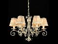 Candelabru Elegant Felicita,6 becuri dulie E14, 230V,D.62cm, H.44 cm,Alb auriu