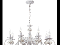 Candelabru Faberge ,8 becuri dulie E14, 230V,D.82cm, H.38 cm,Alb