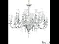 candelabru Beethoven, 16 becuri, dulie E14, D:1305 mm, H:980/2000 mm, Transparent