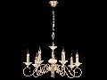 Candelabru Perla ,7 becuri dulie E14, 230V,D.66cm, H.37 cm,Crem auriu