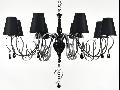 Candelabru Intreccio,8 becuri dulie E14, 230V,D.100 cm, H.67 cm,Negru