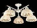 Candelabru Keramos,5 becuri dulie E27, 230V,D.64 cm, H.28 cm,Alb-Auriu