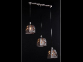 Lampa suspendata Ferro,3 becuri dulie E14, 230V,D.46 cm, H.130 cm,Maro