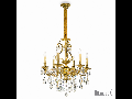 candelabru Gioconda, 6 becuri, dulie E14, D:620 mm, H:930/1180mm, Auriu