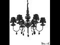 candelabru Blanche, 6 becuri, dulie E14, D:750 mm, H:800/1200 mm, Negru