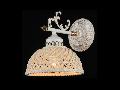 Aplica Elegant Keramos,1 x E14, 230V, D.16 cm,H.23 cm,Alb-Auriu