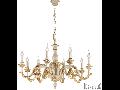 candelabru Giglio, 8 becuri, dulie E14, D:840 mm, H:660/1200 mm, Auriu
