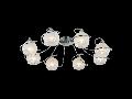Plafoniera Modern Spazio,8 becuri dulie E14, 230V,D.74cm, H.15 cm,Crom