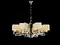 Candelabru Modern Meggapolis,8 becuri dulie E14, 230V,D.84cm, H.38 cm,Nichel