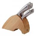 Set de cutite cu lama inox si suport din lemn KingHoff, 6 piese