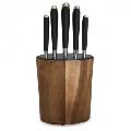 Set cutite cu lama inox si suport din lemn de salcam Kassel, 6 piese