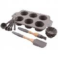 Set ustensile din silicon pentru briose Kassel, tava 6 cupe, forme briose 6 bucati, pensula, spatula, set masuratori