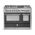 Aragaz Steel Genesi G12FF, 120X66cm, 7 arzatoare, 2 cuptoare, timer, aprindere electronica, negru antracit