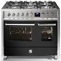 Aragaz Steel Enfasi E10FF, 100X60cm, 6 arzatoare, 2 cuptoare, timer, aprindere electronica, negru antracit