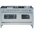 Aragaz ILVE Profesional line P150, 150X60cm, 6 arzatoare, cuptor gaz+electric, timer, aprindere electronica, inox