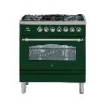 Aragaz ILVE Nostalgie Profesional line PN80, 80X60cm, 5 arzatoare, cuptor electric, arzator peste, aprindere electronica, verde