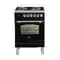 Aragaz ILVE Nostalgie Profesional line PN60, 60X60 cm, 4 arzatoare, cuptor electric, timmer, aprindere electronica, negru