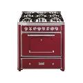 Aragaz Barazza Classica 90x65 cm, 6 arzatoare gaz, cuptor electric, aprindere electronica, visiniu/inox
