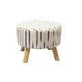 Taburet material bej cu imprimeu/lemn GL RONDA