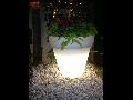 Ghiveci lampa de gradina  DUBAI , 1 bec, dulie E27, Diametru 65cm,H70cm Alb