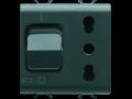 Priza cu protectie - 2P+E 16A P17/P11 - WITH Siguranta automata 1P+N 16A - 230V ac - 2 MODULES - BLACK - CHORUS.