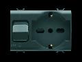 Priza cu protectie - 2P+E 16A P40 - WITH Siguranta automata 1P+N 16A - 230V ac - 3 MODULES - BLACK - CHORUS.