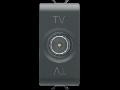 COAXIAL TV Priza, CLASS A SHIELDING - IEC MALE CONNECTOR 9,5mm - FEEDTHROUGH 5 dB - 1 MODULE - BLACK - CHORUS