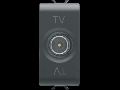 COAXIAL TV Priza, CLASS A SHIELDING - IEC MALE CONNECTOR 9,5mm - FEEDTHROUGH 14 dB - 1 MODULE - BLACK - CHORUS