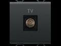 COAXIAL TV Priza, CLASS A SHIELDING - IEC MALE CONNECTOR 9,5mm - DIRECT - 2 MODULE - BLACK - CHORUS